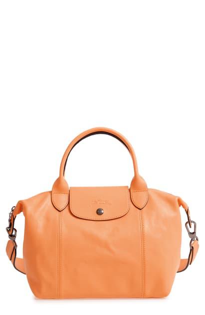 Le Pliage Cuir Leather Shoulder Bag - Orange In Melon
