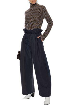 STELLA MCCARTNEY STELLA MCCARTNEY WOMAN BENNI GATHERED CHECKED COTTON-POPLIN WIDE-LEG PANTS NAVY,3074457345620298677