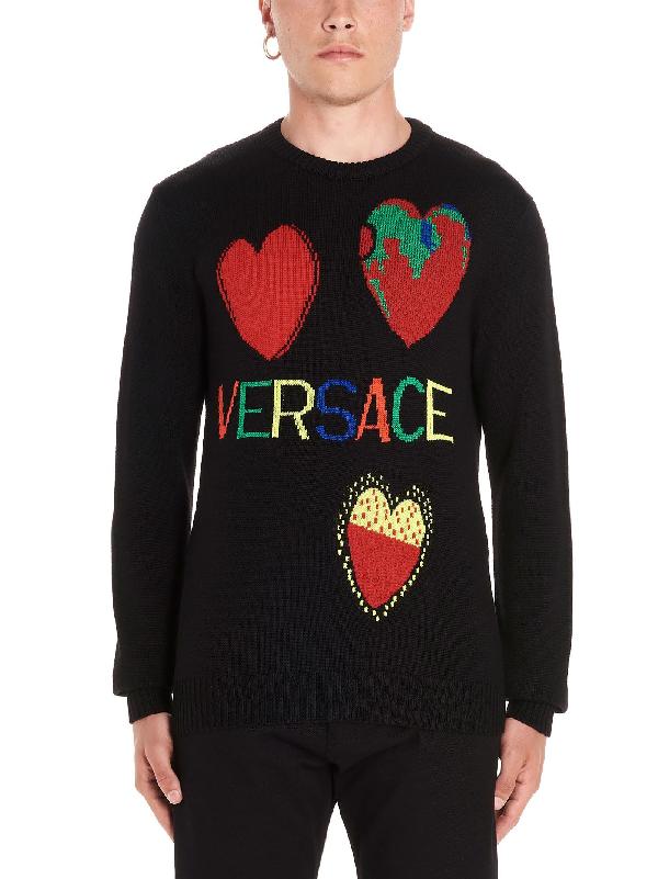 Versace Intarsia Hearts Wool Knit Sweater In Black
