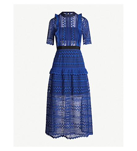 Short Sleeved Geometric Lace Midi Dress In Cobalt Blue