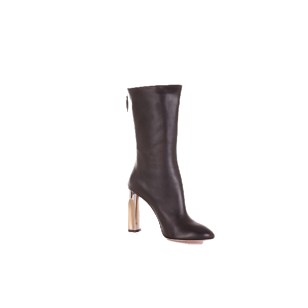ALEXANDER MCQUEEN BLACK LEATHER ANKLE BOOTS,485800WHR601000