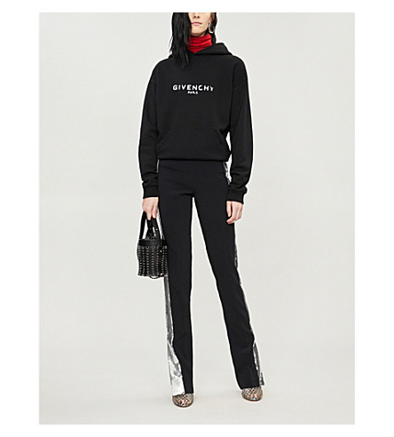 Givenchy Logo Distressed Cotton Terry Hoodie In Black
