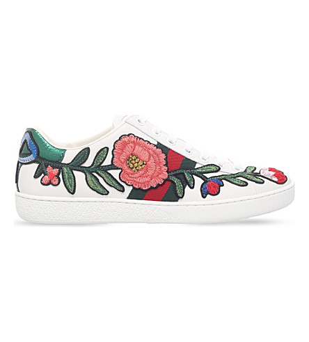 Gucci Ace Watersnake-Trimmed AppliquÉD Leather Sneakers In White