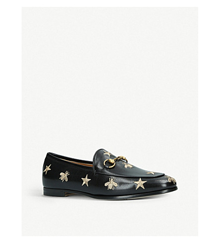 Gucci 10Mm Jordaan Embroidered Leather Loafers In Black