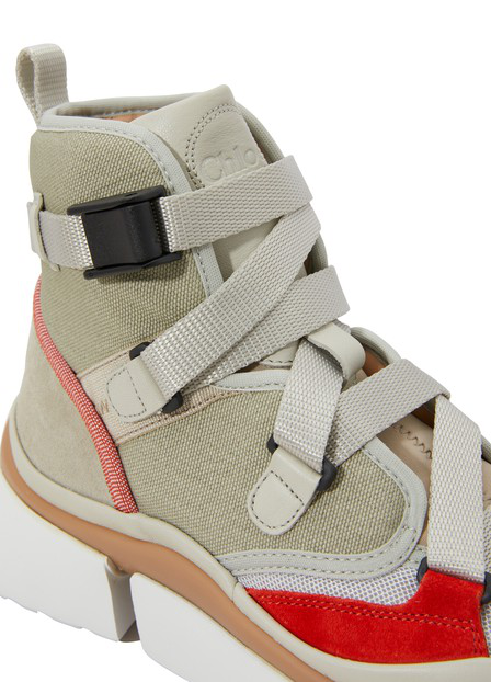d1b5f7a4 Women's Sonnie Lace-Up Leather & Suede High-Top Sneakers in 38A Light  Eucalyptus