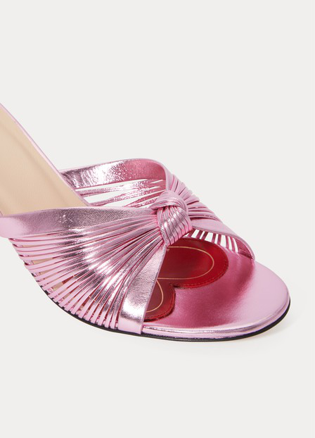 Gucci Metallic Leather Mid-Heel Sandal In Pink