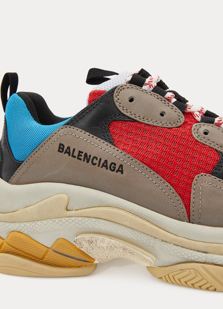 Balenciaga Triple S Logo-Embroidered Leather, Nubuck And Mesh Sneakers In Blue
