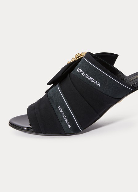 Dolce & Gabbana Charmeuse Leather-Trimmed Sandals In 8B956 Nero