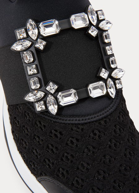 Roger Vivier 75Mm Viv Run Crystal Mesh Sneakers In Black