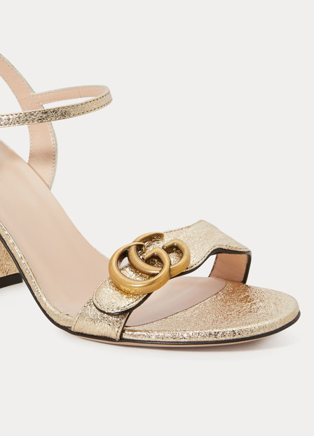 Gucci Marmont Logo-Embellished Metallic Cracked-Leather Sandals