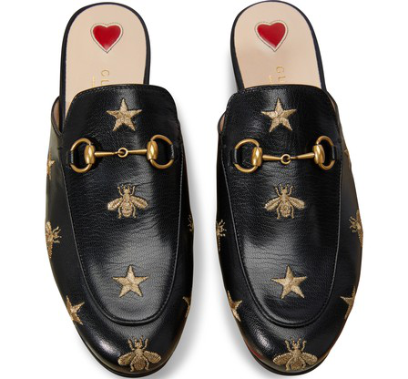 Gucci Princetown Horsebit-Detailed Embroidered Leather Slippers In Black