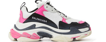 Balenciaga Triple S Logo-Embroidered Leather, Nubuck And Mesh Sneakers In 5671 Rose Fluo/Noir/Blanc