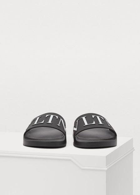 Valentino Garavani Pvc Slide Pool Sandal, Nero-Bianco In Black