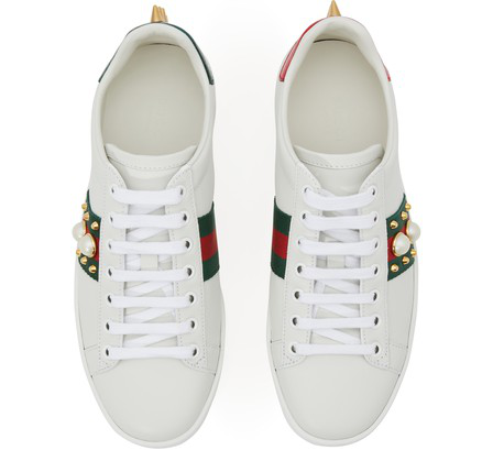 Gucci Ace Faux Pearl-Embellished Metallic Watersnake-Trimmed Leather Sneakers In White