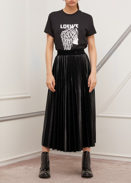 Givenchy Varnished Jersey Pleated Midi Skirt In Black