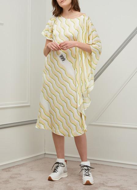 Aalto Asymmetric Dress In Print Cream