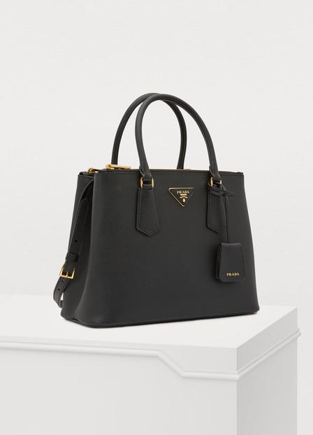 Prada Pebbled Leather Satchel Bag In Black