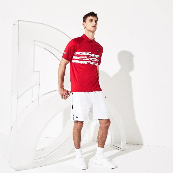 Lacoste Men S Sport Novak Djokovic Stretch Print Jersey Polo In Red White Modesens