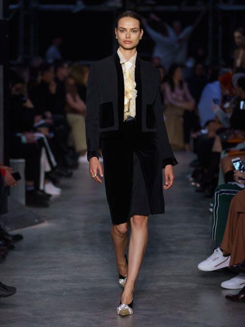 BURBERRY Velvet Detail Wool Tailored Jacket