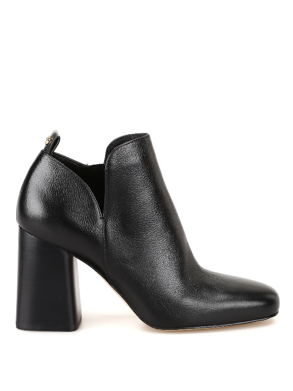 Michael Kors Dixon High Heels Ankle Boots In Black Leather