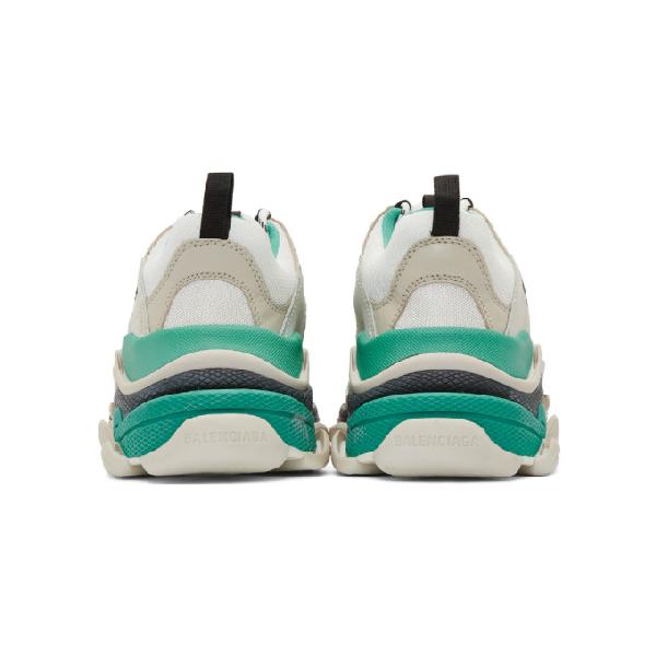 BALENCIAGA BALENCIAGA WHITE AND GREEN TRIPLE S SNEAKERS