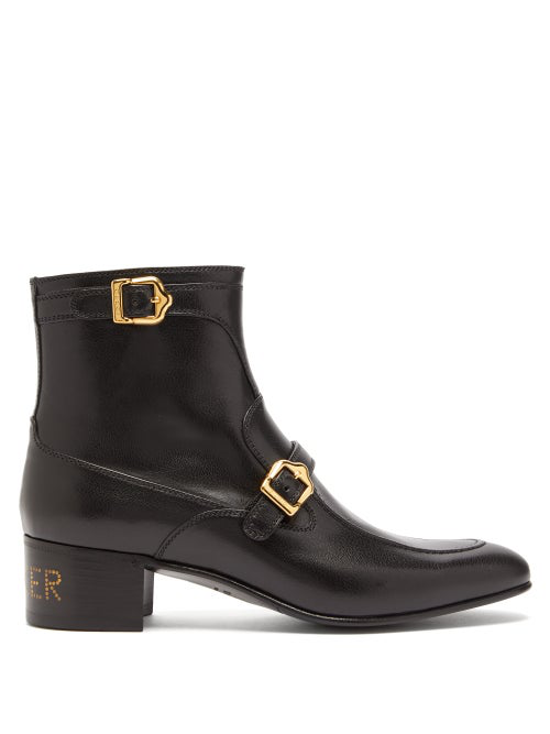 GUCCI SUCKER PRINT BUCKLED LEATHER ANKLE BOOTS
