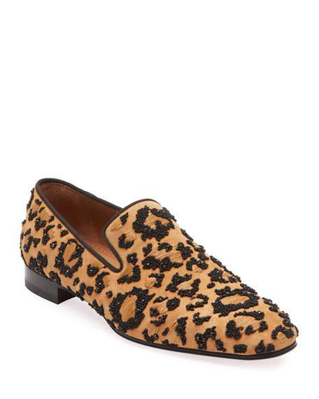 CHRISTIAN LOUBOUTIN MEN'S LEOLION LEOPARD-PRINT SLIP-ON LOAFERS,PROD218390310