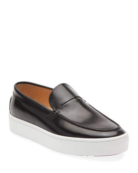 CHRISTIAN LOUBOUTIN MEN'S PAQUE BOAT LEATHER SLIP-ON SNEAKERS,PROD218390231