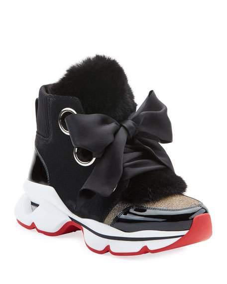 new styles 6a5d9 05565 Marellaski Faux-Fur Red Sole Sneakers in Black