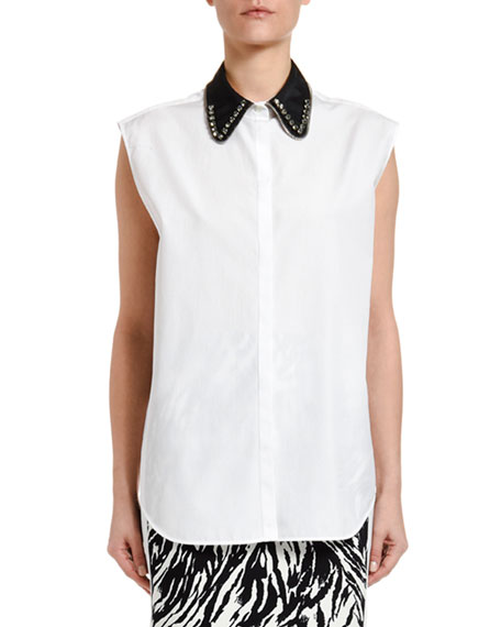 N°21 COLLARED SLEEVELESS BUTTON-DOWN BLOUSE,PROD220600220