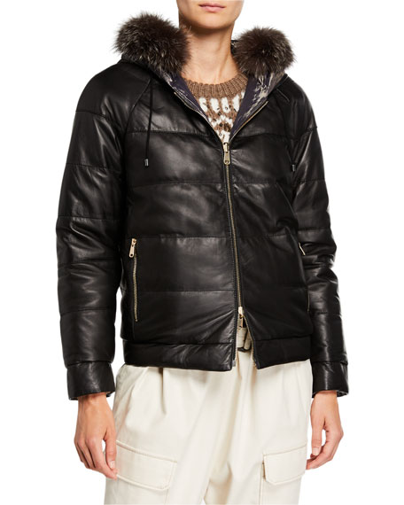 BRUNELLO CUCINELLI REVERSIBLE QUILTED LEATHER JACKET WITH FUR HOOD,PROD221610085