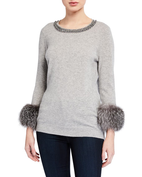 Sweater With Fur Neck And Cuff