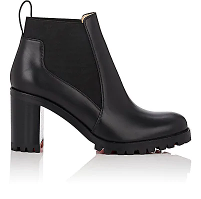 big sale 2479a dcd5e Marchacroche Leather Red Sole Booties in Black