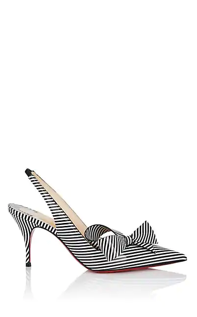 info for 03cee d7009 Clare Nodo Striped Side-Bow Red Sole Slingback Pumps in Black-White