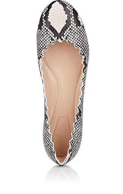 CHLOÉ Chloé Lauren Stamped Leather Flats,00505057738727