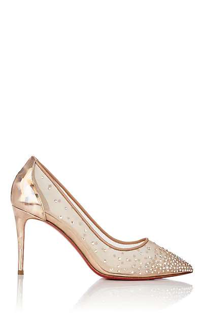 innovative design c658f a652a Follies 70Mm Crystal Mesh Red Sole Pump in Version Nude