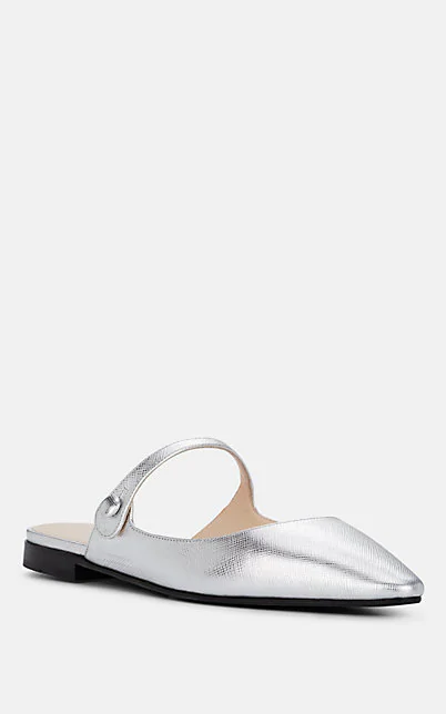 PRADA METALLIC LEATHER MARY JANE FLATS,00505061579002