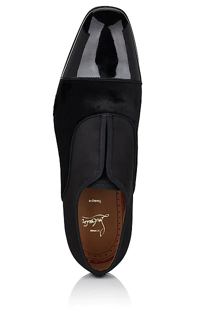 low priced e8049 a7351 Men's Alpha Male Tonal Patent Leather & Suede Slip-On Shoes in Black