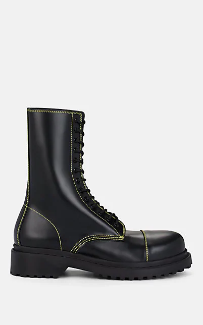 BALENCIAGA LACE-UP LEATHER COMBAT BOOTS,00505060982643