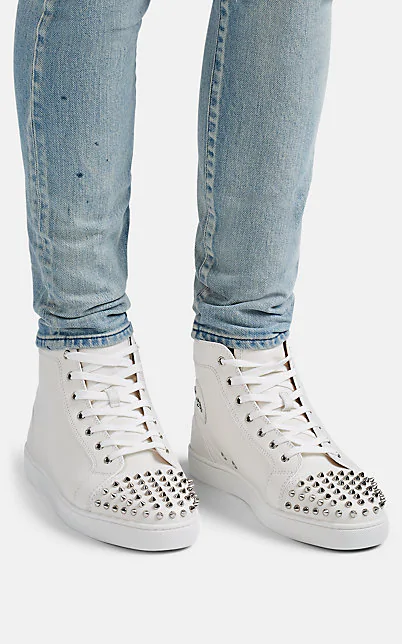 CHRISTIAN LOUBOUTIN LOU SPIKED LEATHER SNEAKERS,00505059210061