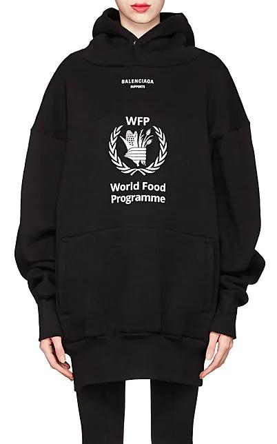 World Food Programme Oversize Brushed Felt Hoodie in Black
