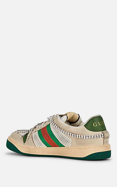 GUCCI SCREENER CRYSTAL-EMBELLISHED LEATHER SNEAKERS,00505061817524