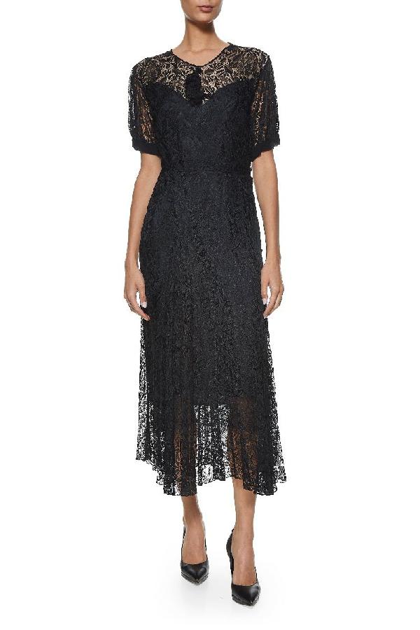 Vintage Black Silk Antique Lace Dress