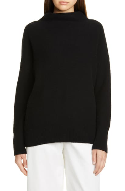 Boiled Cashmere Funnel Neck Pullover In Black