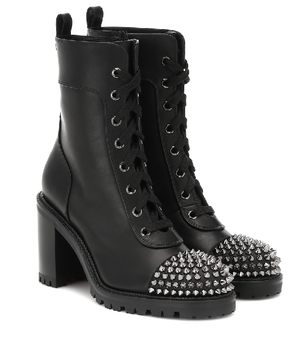 super popular b6e01 1b321 Studded Cap-Toe Leather Ankle Boots in Version Black