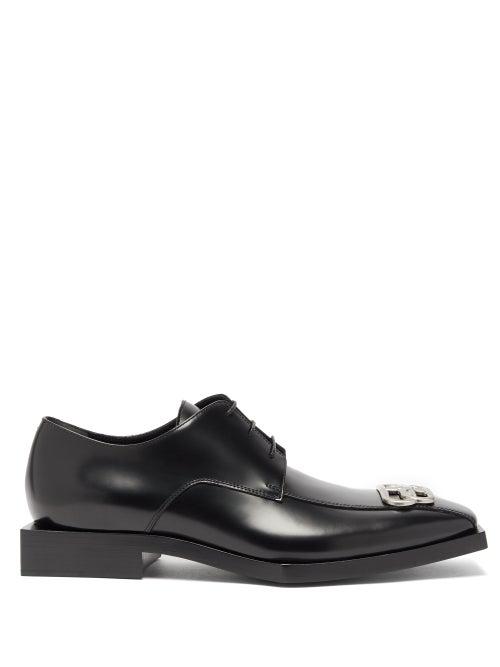 BALENCIAGA BB-logo square-toe leather derby shoes