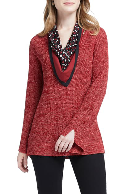 Nic Zoe Explorer V Neck Sweater With Scarf In Red Dahlia Modesens