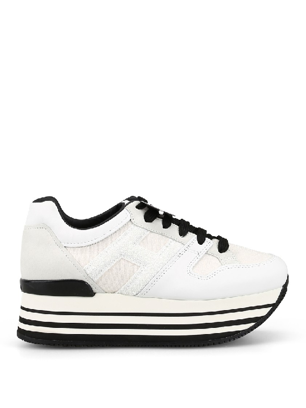 Hogan Leather And Fabric Maxi Sole Sneakers In White   ModeSens