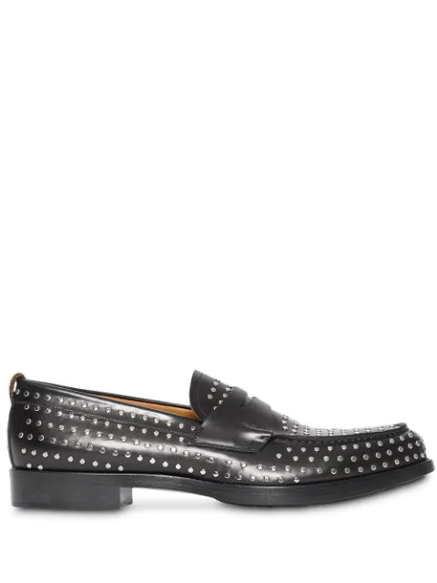 premium selection new style factory outlets Men's Emile Studded Leather Penny Loafers In Black