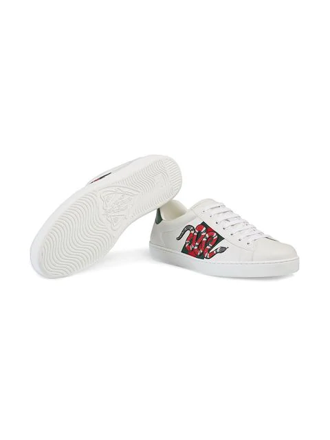 GUCCI WHITE ACE EMBROIDERED SNAKE SNEAKERS
